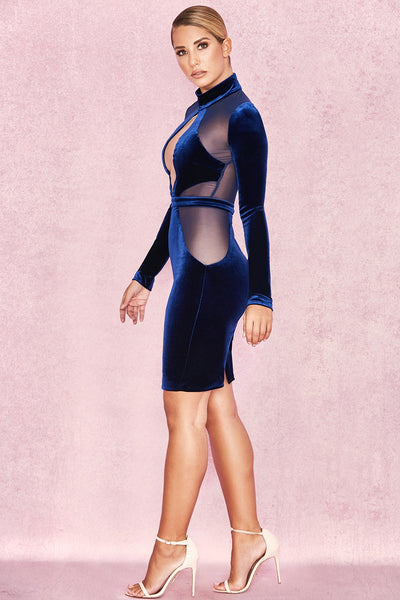 Blue Velvet Rlegant sheer mesh cuted dress