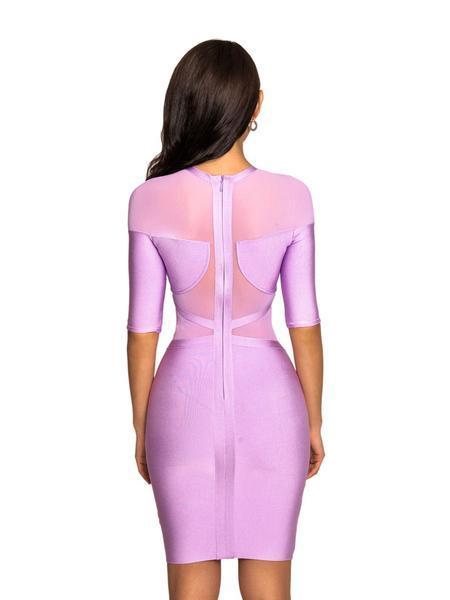 Lavender Mesh Detail dress Three-Quarter Sleeve Bandage Dress