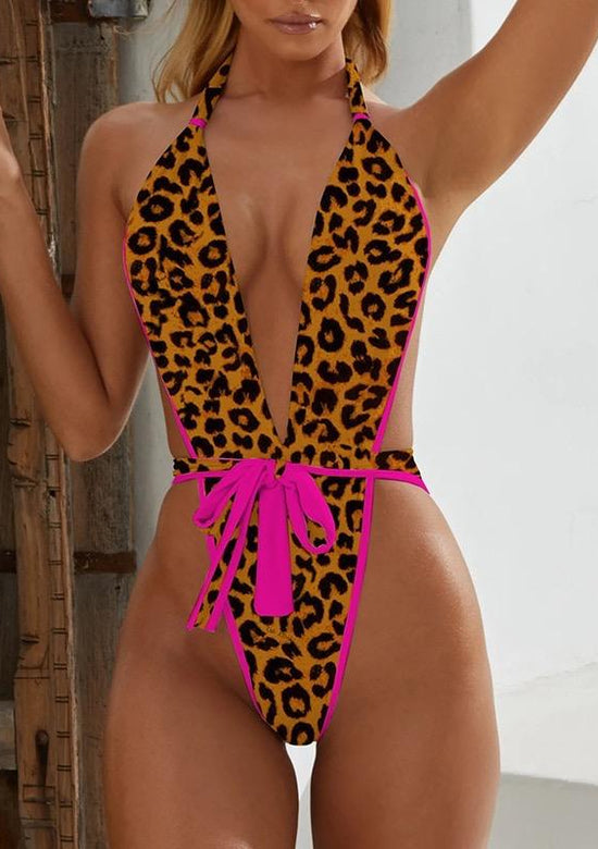 Sexy Pink Leopard One Piece