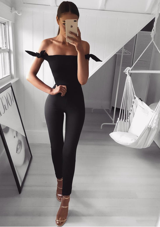 Cindy Off Shoulder Black Jumpsuit