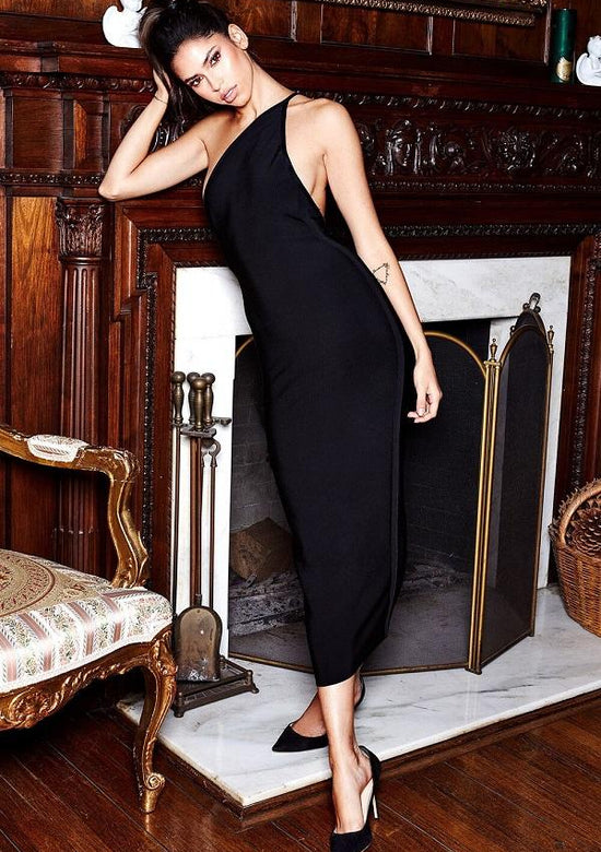 Alex Black One Shoulder Bandage Maxi dress