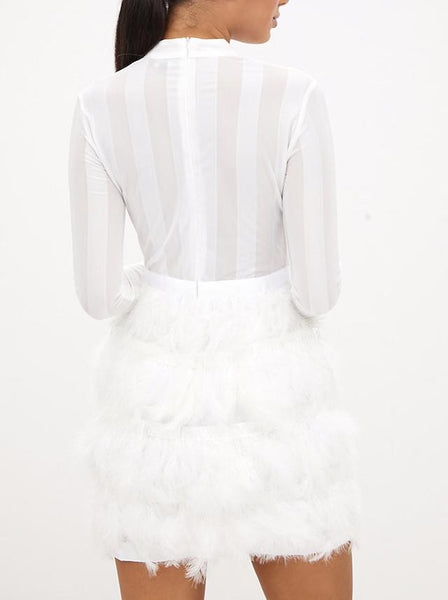 Naomi Feather Mini Dress