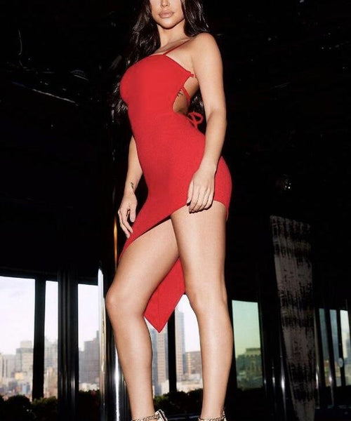 Elvira Hot Red Asymmetric Dress