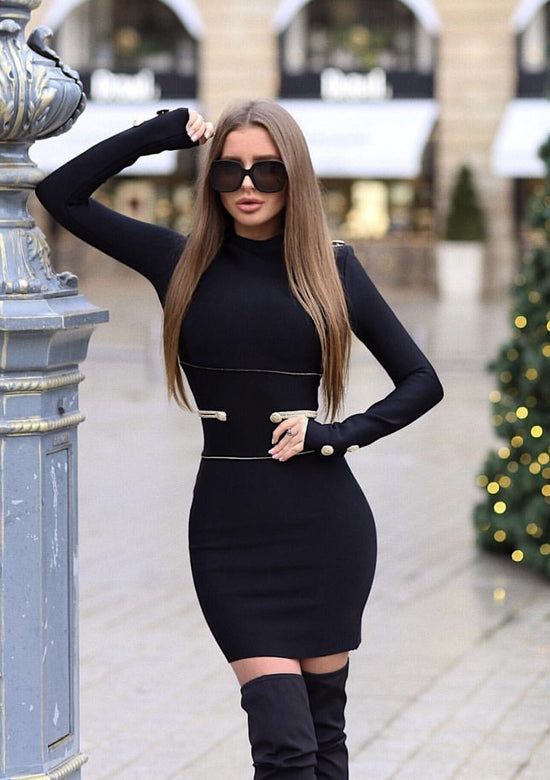 RedSquare Elegant Gold Waist Details Dress