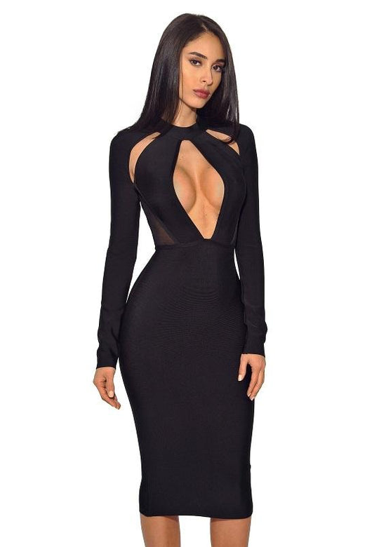 Zina Black Keyhole Cut Out Long Sleeve Bandage Dress