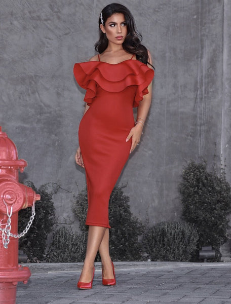 Wave ruffle red dress midi design