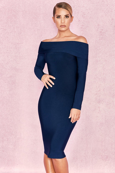 Deep Blue Bandage Elegant Dress Miami Designed Women sexy dresses