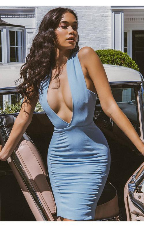 Belima Plunge Blue Hot Dress
