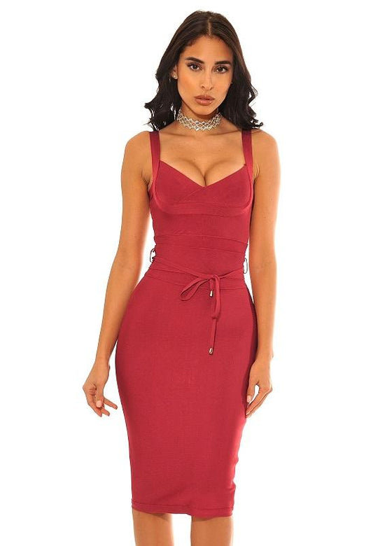 Kierre Crimson Red Sweetheart Top Waist Tie Bandage Dress