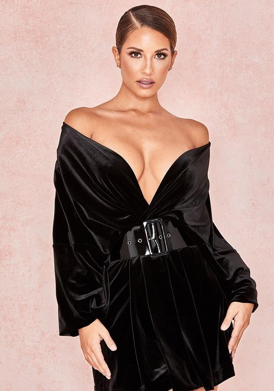 Yolanda Black Satin V Neck Hot Mini Dress