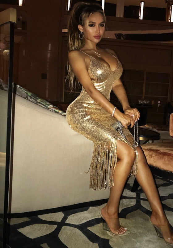 Dana Party Sequing Festival Gold Dress