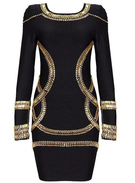 Celebrity Styles KAYDENCE CRYSTAL Embellished Dress in White and Black Color -  FashionMiamiStyles - 5