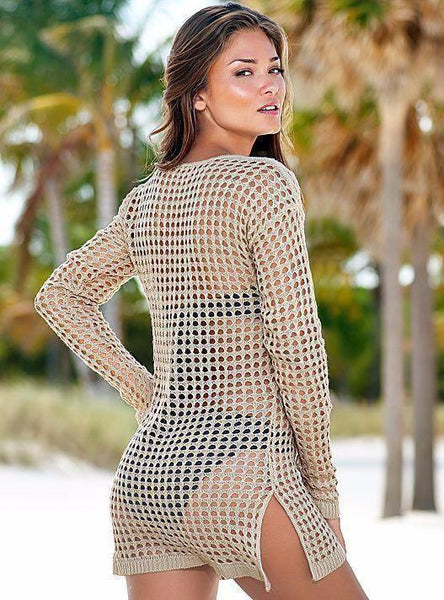 SUMMER CAMP Cognac Long Sleeve Cover Up -  FashionMiamiStyles - 2