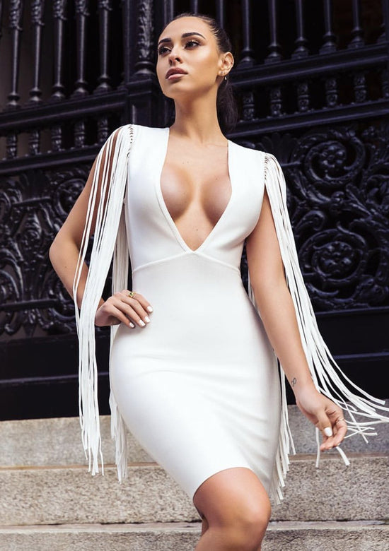 Bianka  Fringe Sleeve Detail White Bandage Dress