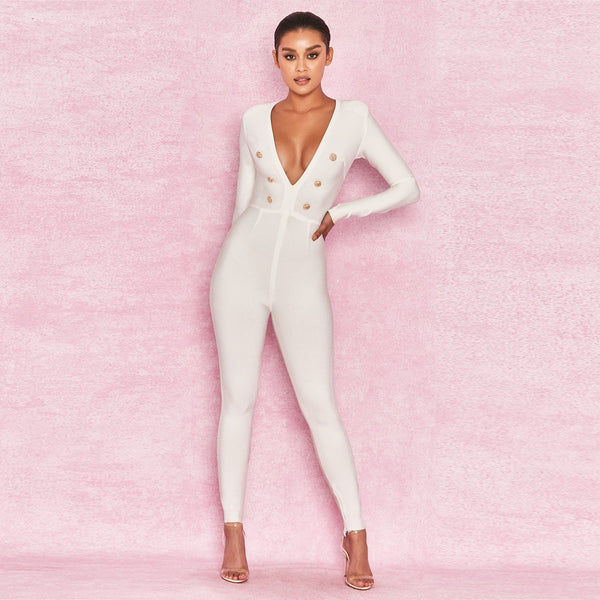 Deep V neck Sexy Jumpsuit FashionMiamiStyles Last trends jumpsuits