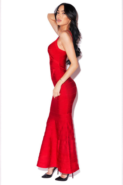 Rebecca Gown Elegant Red Maxi dress by FashionMiamiStyles
