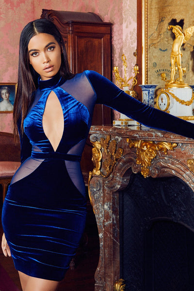 Blue Velvet and Mesh dress 2018