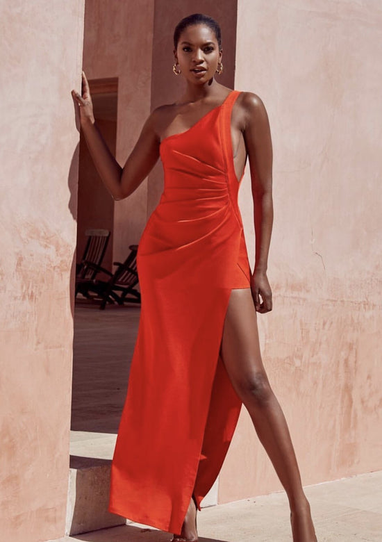 Larisa Red Bandage One Shoulder Maxi Dress