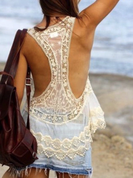 White Lace Sexy Cover Up