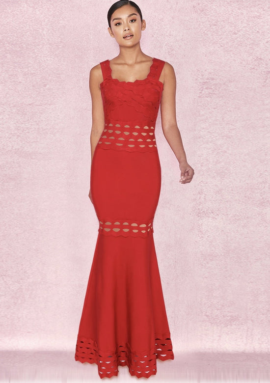 Ferera Red Ruffle Maxi Dress