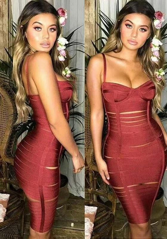 Zigmund Sexy Cuted Bandage Midi Dress