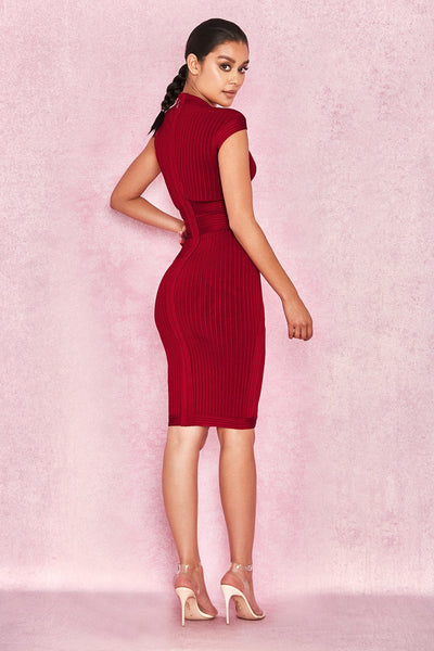 Wine Red Ribbed Cupped Dress