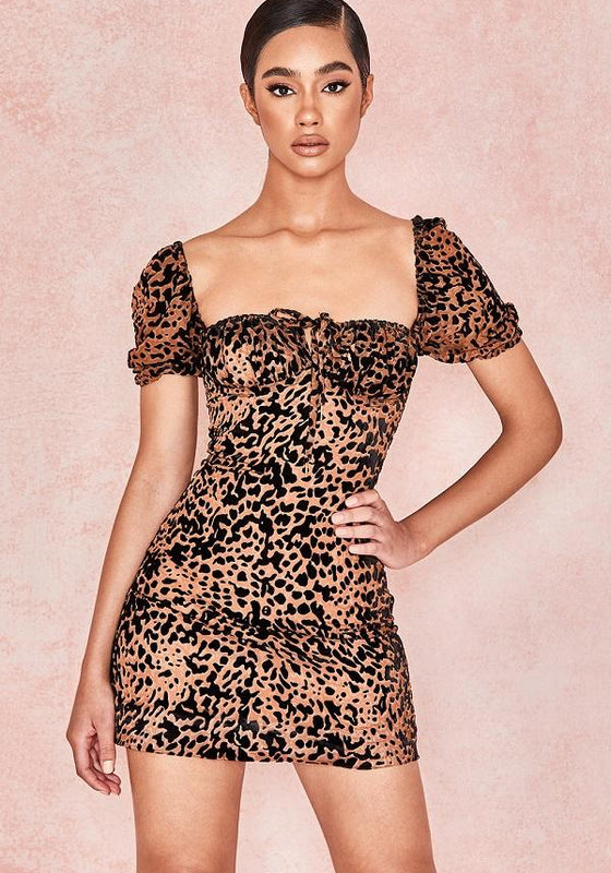 Leslia Leopard Print Ruffle Tea Dress