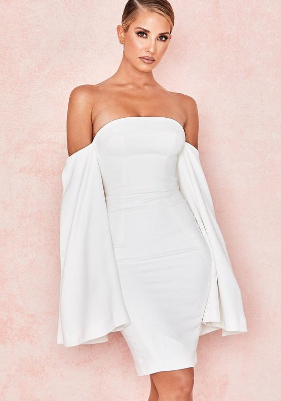 Rere White Slit Sleeve Midi Dress