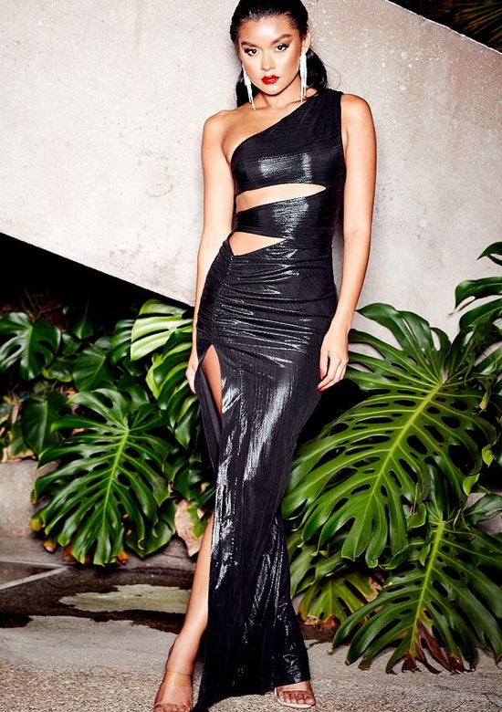 Sonyx Black High Shine Cut Out Sexy Maxi Dress