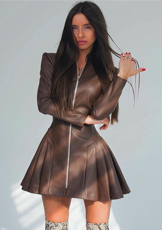 Nina Long Sleeve Vegan Leather Dress
