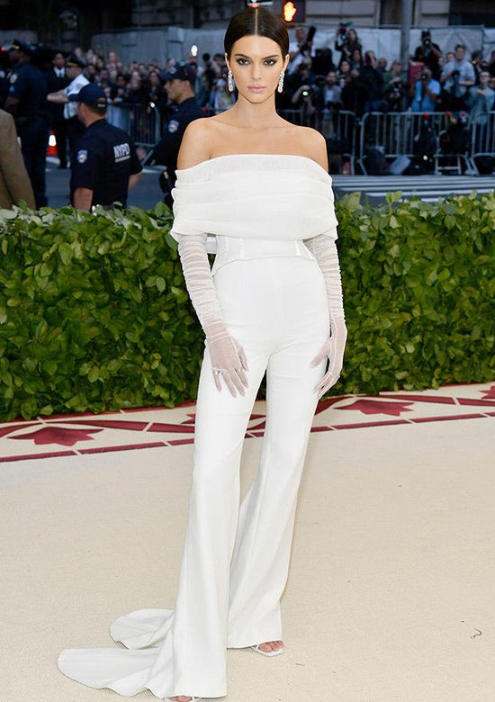 Kendall Jenner white jumpsuit
