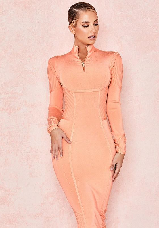 Dominica Sorbet Orange Long Sleeve Hourglass Dress