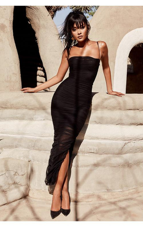 Forna Black Mesh Maxi Dress