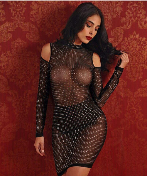 Elianna Cut Out Shoulder Long Sleeve Crystal Stretch Mesh Dress