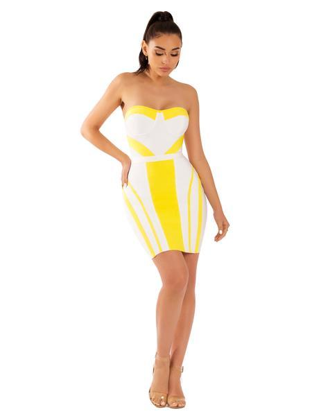 Florence Strapless Bustier White and Yellow Bandage Dress