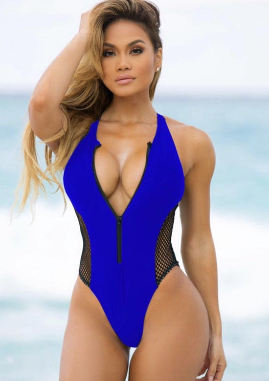 Deep Zipper Style Swimsuit