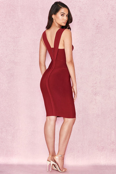 Sexy midi wine color dress