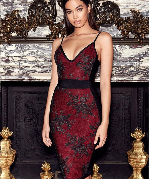 Akitina Black Wine embellished bandage dress