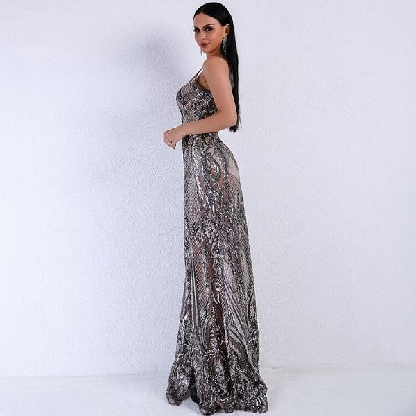Grey sequined embellished Maxi dress , Red Carpet Special dresses
