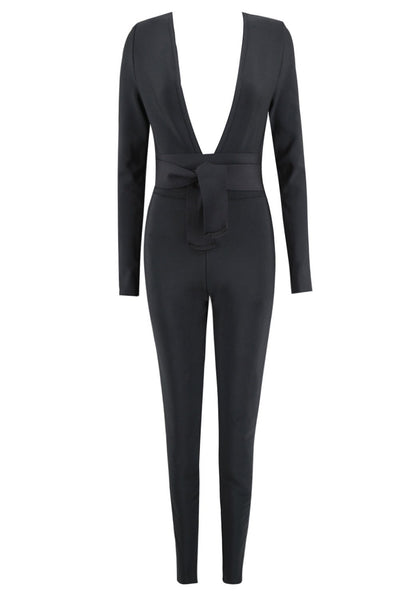 Faina Sexy black Belt Jumpsuit sexy women's jumpsuit collection
