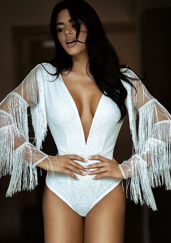 Karina Long Sleeve V neck Lace white bodysuit top
