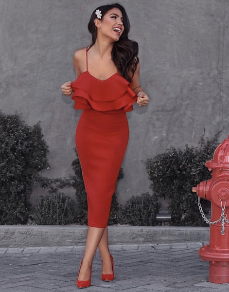 Midi design furrle red hot Valentines day dress