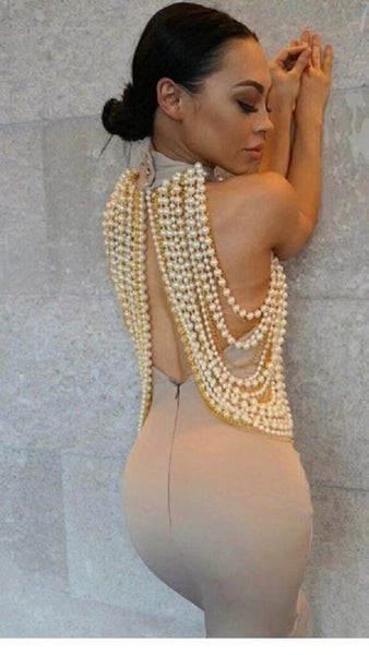 Luxury Embellished Pearl Open Back Maxi dress , special occasion