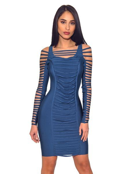 Ruched Detail Cut Out Sleeve Dress Designed for Miami party hot dress