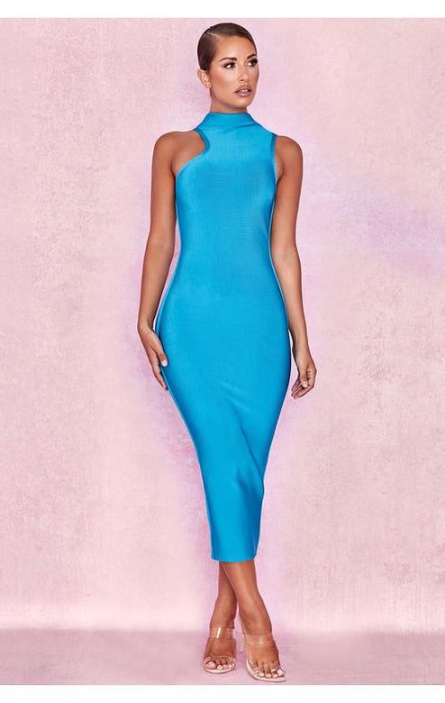 Petra Blue High Neck Midi Bandage Dress