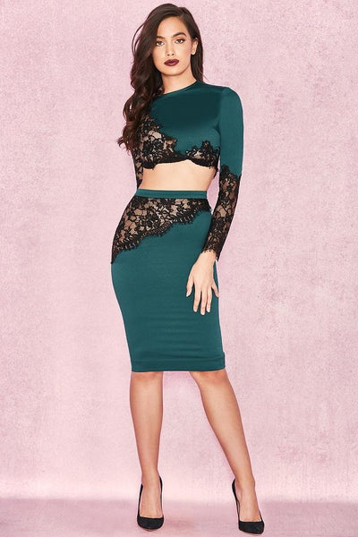 Emerald green black satin lace two piece set