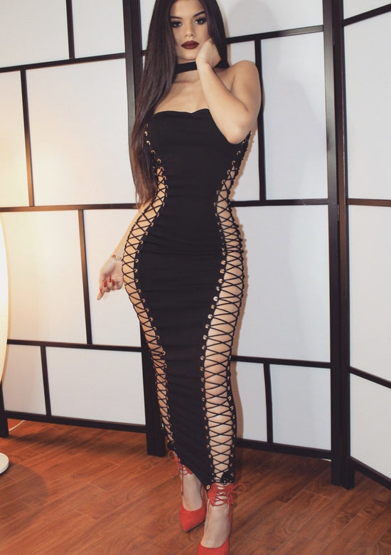 Sara Sexy Cut Maxi Bandage Dress