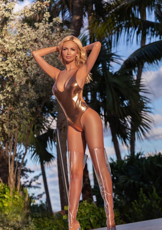 Metallic Plunge Swimsuit