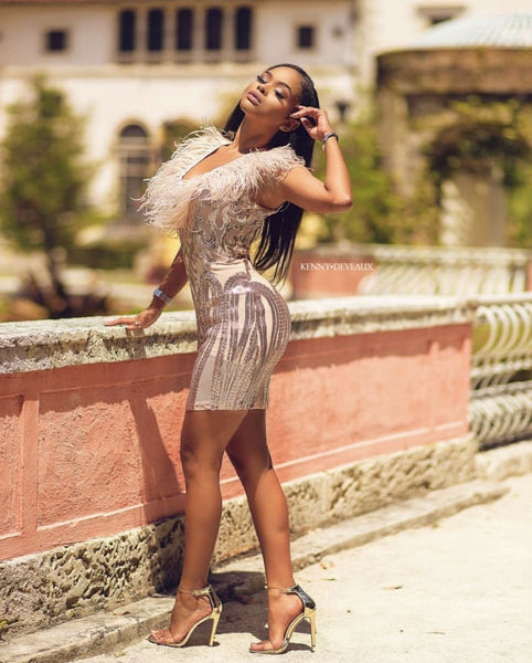 Madina fashion sleeveless sequined mini dress
