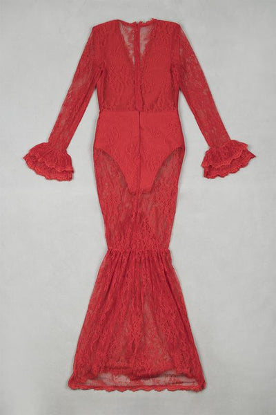 Red lace maxi Dress Celebrity Style Elegant evening outfits